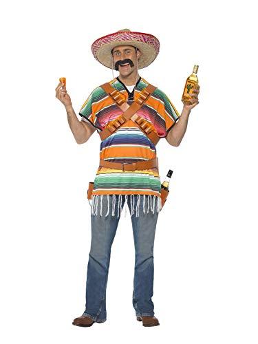 Smiffys Herren Tequila Shooter Kostüm, Poncho, Patronengürtel und Gürtel mit Flaschen-Holster, One Size, 29233