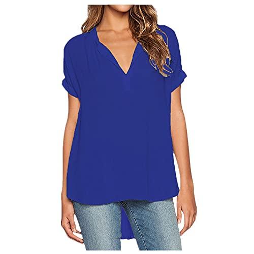 N\P Mujeres Camisas Verano Otoño Casual V-cuello gasa Blusa Mujeres Tops y Blusas Manga Larga Negro