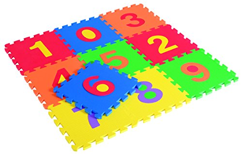 Kids Play Mat - Numbers And Animals Foam Floor Matt - 10 Interlocking Pieces To Develop Children's Motor Skills And Color Recognition