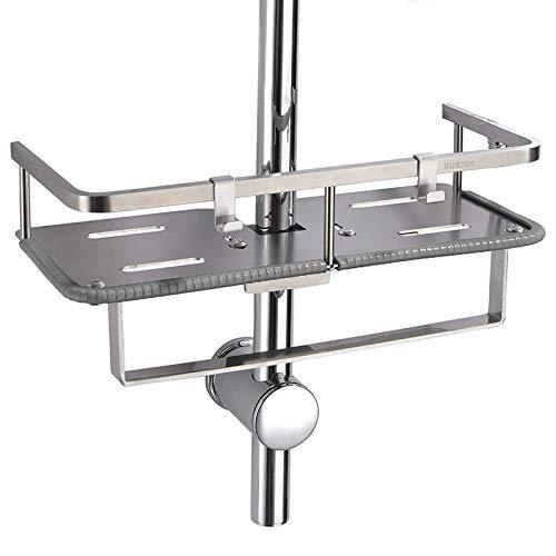 Edelstahl Duschablage zum Hängen badezimmer duschkorb mit Doppelt Halter für Duschkopf ohne Bohren zu montieren geeignet für alle Durchmesser von 19 bis 25mm Runde Duschstange PHASAT