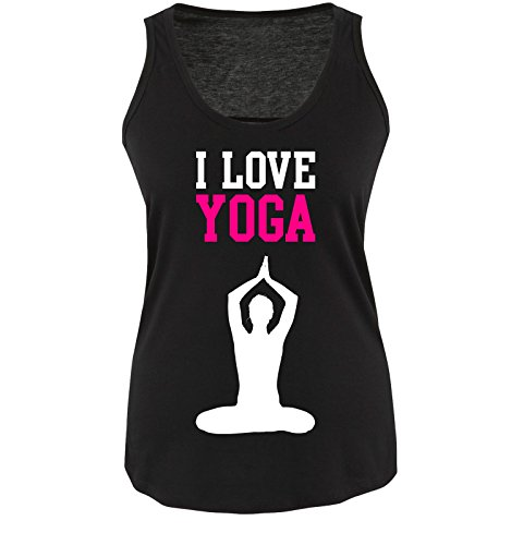 Comedy Shirts I Love Yoga - Damen Tank Top - Schwarz/Weiss-Pink Gr. XXL