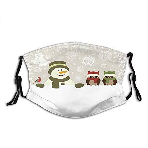 Füller Gesicht Stoff Senioren Weihnachten, Schneemann Eulen in verschneiten Wintertag mit Jingle Bells Schneeflocke Bild, mehrfarbigen Mund Anti Staub
