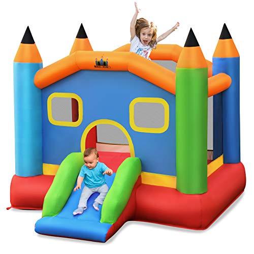 COSTWAY Casa Casetta Area Gioco Gonfiabile, Castello Gonfiabile con Scivolo per Bambini (Senza Compressore)