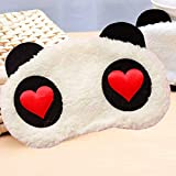 Antifaz para Dormir(10pcs), Cartoon Panda Plush Eye Mask adecuada para viajes/dormir/turnos de trabajo
