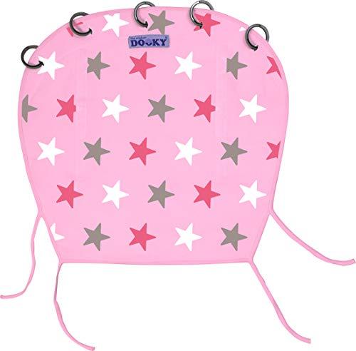 The Original Dooky Pare-soleil 100 % en coton, universel pour poussette et landau, facile à monter avec anneaux, respirant, protège toujours du soleil 40 + SPF, répare du vent et de la pluie, réglable avec velcro Rosa con stelle tono su tono - Baby Pink/Pink Stars