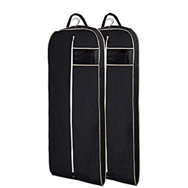 MISSLO Breathable 54  Suit Dress Black Garment Bag with Gusseted, Pack of 2