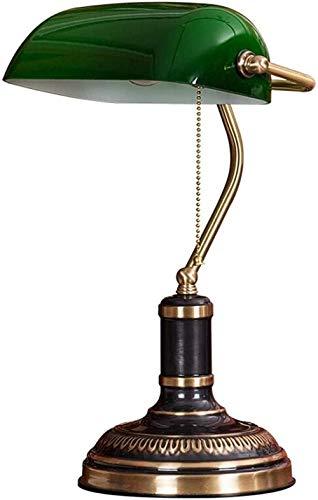 Lámpara de banquero Pantalla verde Retro Bronce Lámparas de escritorio tradicionales Estudio de oficina Diseños simples Lámpara de lectura que cuida los ojos