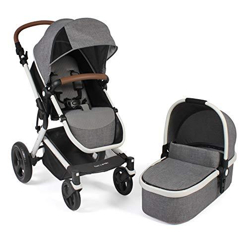 Chic 4 Baby Kombikinderwagen PASSO, inklusive Babywanne, Sportsitz und Maxi Cosi Adapter, Melange grau-weiß