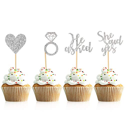 Donoter 48 Pcs Silver He Asked She Said Yes Cupcake Toppers Diamond Ring Heart Cake Picks for Wedding Engagement Party Cake Decorations