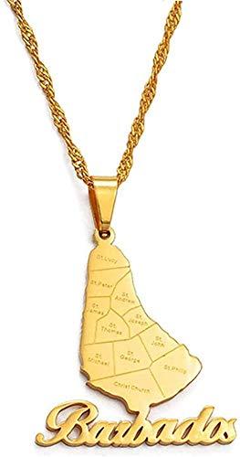 Collar Mapa de la isla Barbados con nombre Ciudad Colgante Collar Color Plata / Oro Color Tarjetas Barbados Joyería Collar de regalo