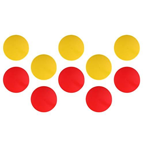 Obstáculo Plano y Antideslizante Marcador de Puntos de Alta Visualidad para Juego y Entrenamiento de Fútbol - Amarillo + Rojo