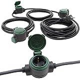 Cable alargador de jardín IP44 10m con 3 enchufes cada 2,5 m incl. 3x pica de tierra ideal como fuente de alimentación para la iluminación del jardín