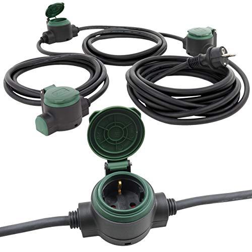 Verlängerungskabel für außen 10 Meter mit 3 Steckdosen IP44 3x Erdspieße ideal für Gartenbeleuchtung