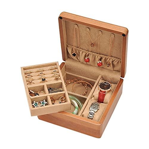 Caja de joyería Caja de joyería de madera Organizador 2 capas de exhibición de joyas de almacenamiento Pendiente Anillo reloj Organizador de viajes portátil para mujeres niñas Organizadores de caja de