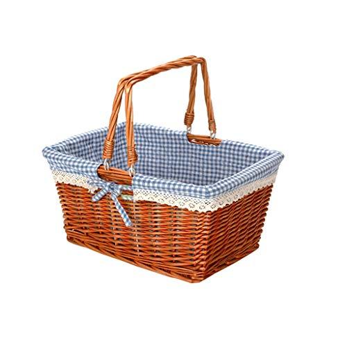 Rectangular Wicker Storage Basket, Fashion Lining Picnic Bread Basket Supermarket Shopping Basket Restaurant Serving/Diplay Baskets For Fruit Food Vegetables (Color : C)