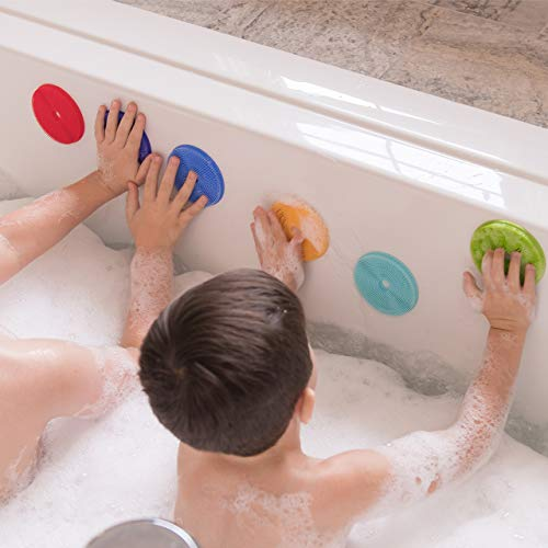 Innobaby Bathin' Smart Rainbow Spots Silicone Bath Toy and Scrub for Kids and Toddlers, 7-Pack Value.
