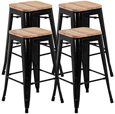 "LOVE US 26"" Counter Height Metal Bar Stools, Durable and Sturdy, Made of Metal Frame and Wood Seat, Stackable Design for Space Saving Option, Ergonomic Footrest, Set of 4, Black + Expert Guide"