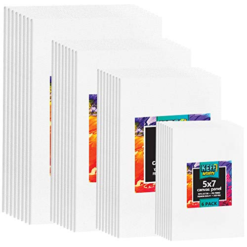 Canvas Boards for Painting - 32 Assorted Art canvases for Painting - Premium Quality White Cotton Painting Canvas - 5x7 8x10 9x12 11x14 Blank Paint Canvas for Acrylic, Oil, Gouache and Tempera Paints