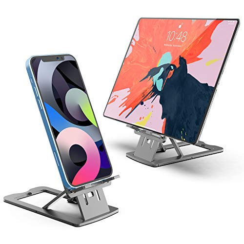 Cell Phone Stand, WATACHE Foldable Adjustable Desk Tablet Stand Holder Dock Cradle for iPad, iPhone, Android Smartphone, Nintendo Switch and More,Space Gray