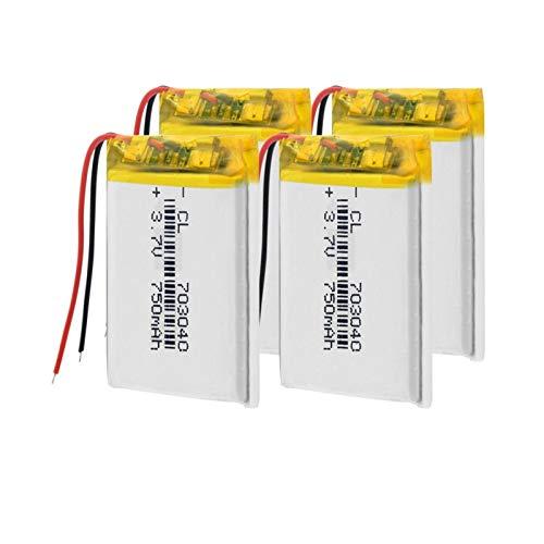 TTCPUYSA 3.7v 703040 750mah Li-Po BateríAs De Litio Recargables, Puede para Luz Led Mp3 Mp4 TeléFono Celular DVD PortáTil Banco De Energía 4pieces