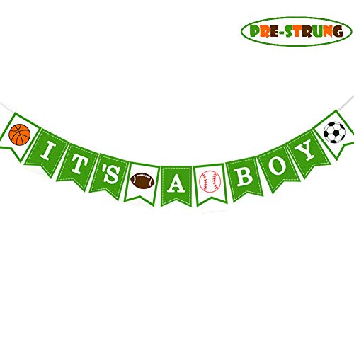 Sport It's A Boy Banner Baseball Baby Shower Party Decor Football Gender Reveal Garland Basketball Newborn Banner Soccer Ball Announce Pregnancy 1st Birthday Party Supplies Decoration Photo Booth Prop