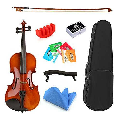FYTVHVB 1/8 1/16 maat, massief hout viool met boog en boog schouder ondersteuning, Geschikt voor beginners