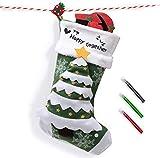 Joyjoz Calcetín navideño de Lujo con marcadores de 3 Colores, Medias navideñas Grandes Personalizadas 3D Hechas a Mano 53cm (Christmas Tree)