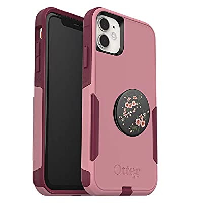 Bundle: OtterBox Commuter Series Case for iPhone 11 - (Cupids Way) + PopSockets PopGrip - (Blossom Flair), Pink