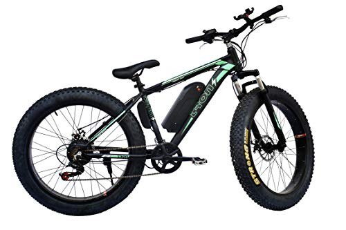 Tronz Fat Tyre E-Bike Bicycle, Electric Cycle for Men & Women Electric Fatbike with 7 Shimano Gears, 250W Lithium Ion Battery Operated Mountain ebike 26 inch Black