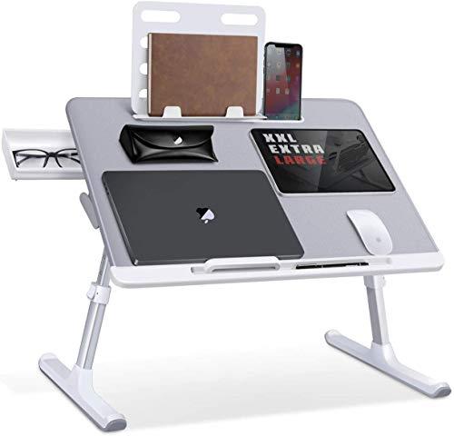 SAIJI Tavolino per Laptop Tavolino Pieghevole Regolabile per Laptop Scrivania Portatile Tavolino per Colazione con PVC Pelle con Cassetti Portaoggetti, Libreria, Scanalatura piatta(grigio)