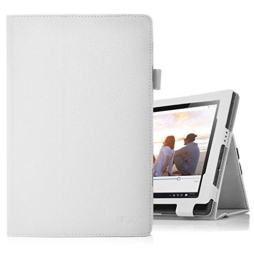 Lenovo Miix 310 hülle, IVSO hochwertiges PU Leder Etui hülle Tasche Hülle - mit Standfunktion,super 360° Anti-Wrestling, ist für Lenovo Miix 310 25,65 cm (10,1 Zoll HD) Tablet PC ideal geeignet, Weiß