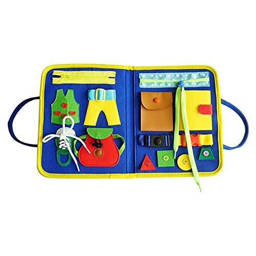 Ocobetom Toddlers' Montessori Basic Skills - Tabla de actividades para aprender motrices finas y adiestramientos, juguete educativo para niños de 1, 2, 3 y 4 años