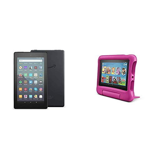 Fire 7 Family Pack - Fire 7 Tablet (16GB, Black) + Fire 7 Kids Edition Tablet (16GB, Pink)