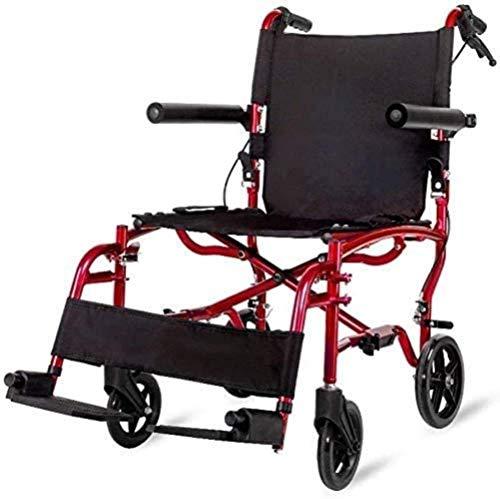 HZYDD Sedia a rotelle Leggera Pieghevole for l'anziano Piccolo Scooter Portatile Multi-Funzione Multi-Funzione, Maniglia del Freno, con Borse della Spesa, Rosso, Nome a Colori: Blu (Color : Red)