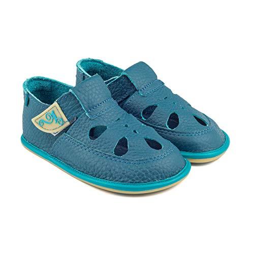Magical Shoes Weiche Kinderschuhe   Kinder   Barfußschuhe   Sandalen   Krabbelschuhe-Baby   rutschfeste Hausschuhe   Outdoor   Leder   20 / 130mm   022. Coco - Türkis