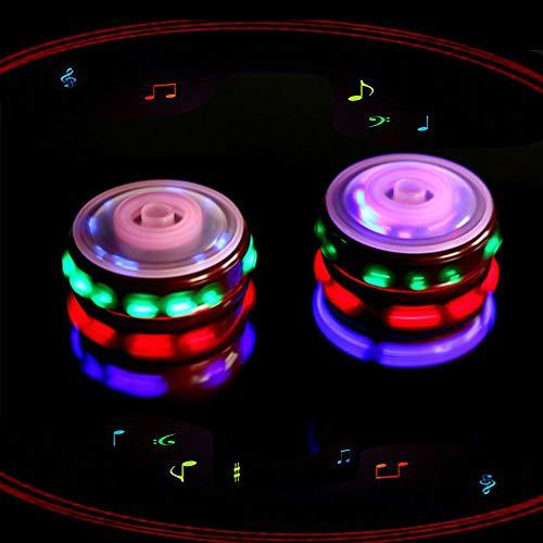 Magic Music Spinning Top Juguetes giroscopio con flash colorido línea láser rojo emisor de luz para niños niños niños niñas 2 piezas