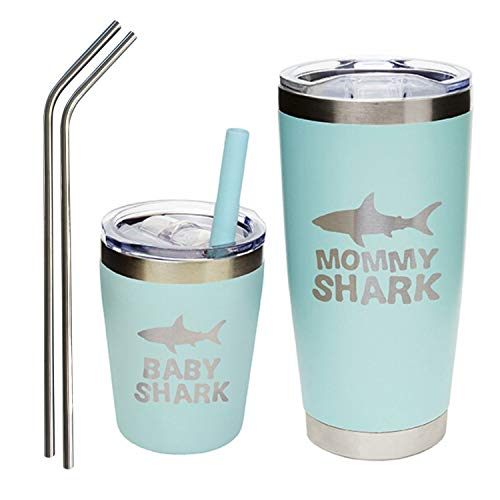 Mommy Shark Tumbler and Baby Shark Tumbler Set - Includes Mom Travel Mug, Toddler Stainless Steel Sippy Cup, Reusable Straws for Hot or Cold Drinks in Aqua and Silver