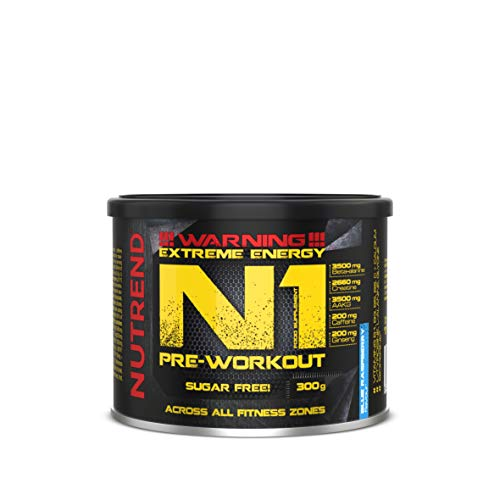 Nutrend N1 300g Blue Raspberry Flavour Body Stimulant Than The Instant Form of pre-Workout Promote Muscle Pumping Beta-Alanine, AAKG Taurine DMAE