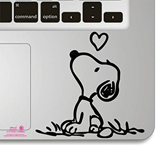 Artstickers. Pegatina para portatil o Macbook. Vinilo Snoopy corazón para touchpad. Adhesivo para Teclado de Apple MacBook Pro Air Mac Portátil. Color Negro. Regalo Spilart, Marca Registrada
