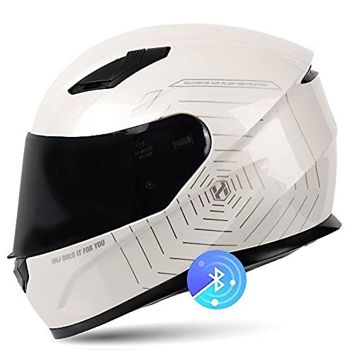 BDTOT Casco de Motos con Doble Anti Niebla Visera Intercomunicación Cascos de Motocicleta Dot/ECE Homologado a Prueba de Viento para Respuesta Automática Adultos Hombres Mujeres