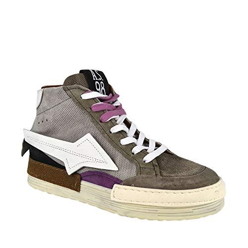 A.S.98 Airstep Sneakers Leder Hightop Damen Schnürschuhe Farbe Taupe, Schuhgröße 41
