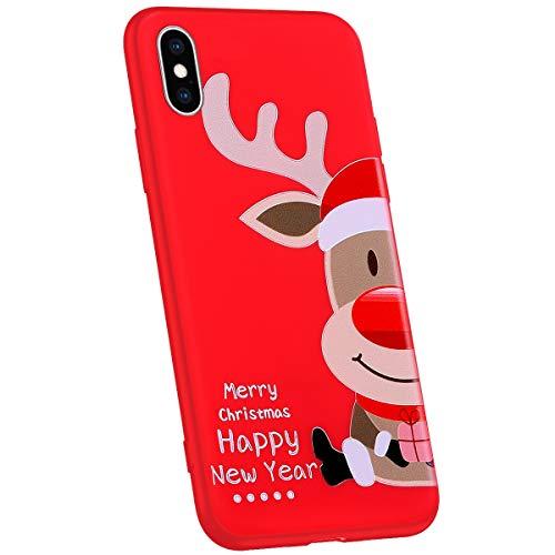 Jinghuash Compatibel met iPhone XS Max beschermhoes rood siliconen Hoed hert