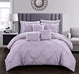 Chic Home Hannah 8 Piece Comforter Complete Bag Pinch Pleated Ruffled Pintuck Bedding with Sheet Set and Decorative Pillows Shams Included, Twin, Lavender