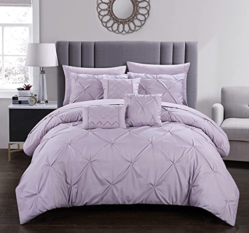 Chic Home Hannah 10 Piece Comforter Complete Bag Pinch Pleated Ruffled Pintuck Bedding with Sheet Set and Decorative Pillows Shams Included, Queen, Lavender