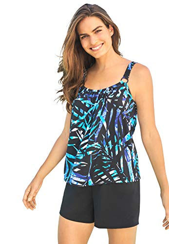 Swimsuits For All Women's Plus Size Tank Overlay Swim Romper - 26, Blue Painterly Leaves