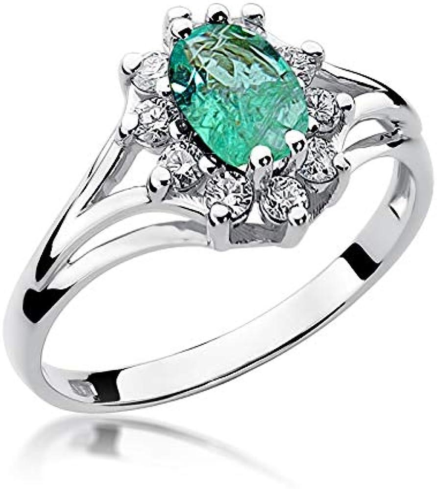 Lumari gold,anello da donna in oro bianco 14 kt/ 585 (2,5 gr),con vero smeraldo 0,80 ct e diamanti 0,30 R37F