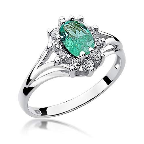 Damen Ring 585 14k Gold Weißgold echt Smaragd Edelstein Diamanten Brillanten