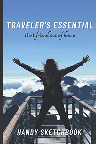 """Handy Sketchbook: Traveler's Essential, Blank Drawing Book, Mountains Theme, Woman (Colorful Soft Cover, White Paper, 100 Pages, Size 6"""" x 9"""")"""