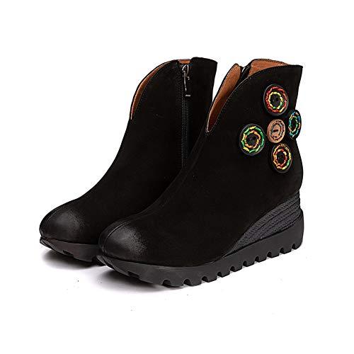 WYX Frauen-Weinlese-Stiefeletten Damen Handgefertigte Stiefel Damen Stiefel Komfortable Retro Beiläufige Keil Booties,Schwarz,35