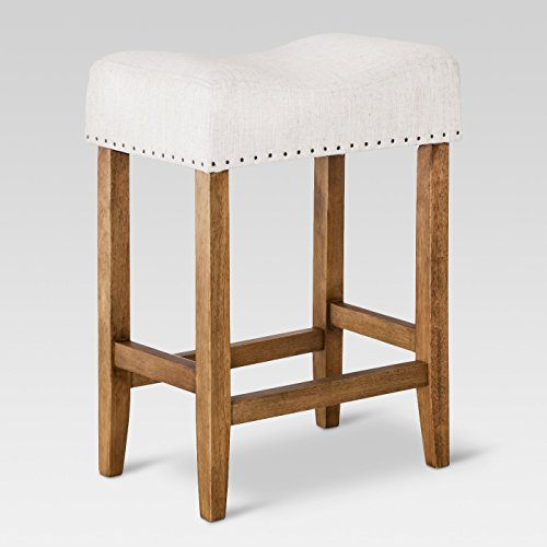 """24"""" Rumford Saddle Counter Stool Faux with Wood Leg Linen Flax - Threshold™"""